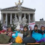 Österreichische Pfadfinder campierten vor dem Parlament